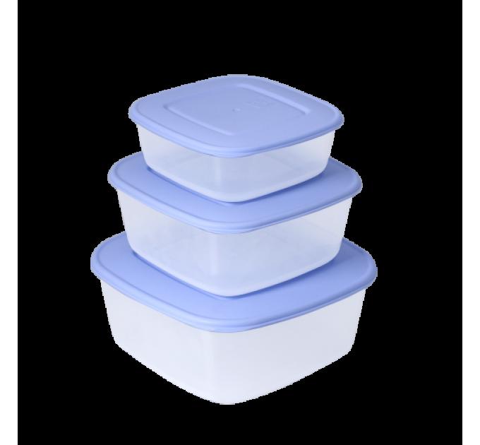 Контейнеры для пищевых продуктов Алеана квадратные 3в1, прозрачный/сиреневый (167010) - фото № 1