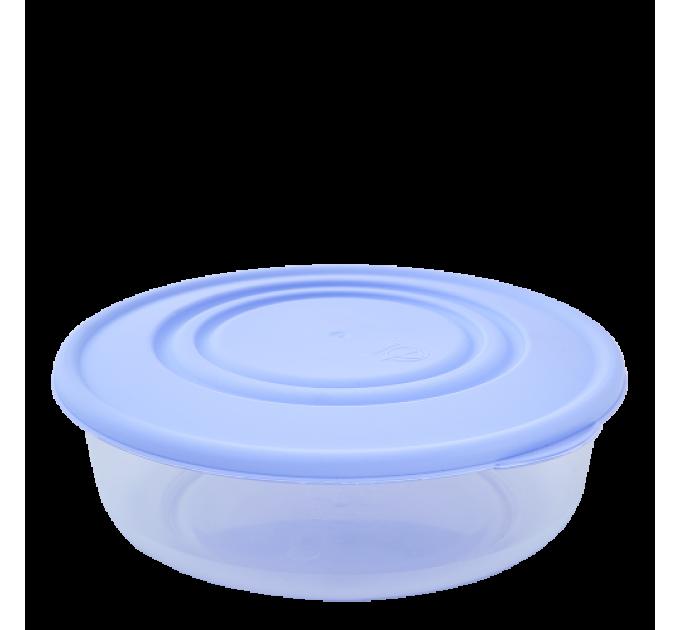 Контейнер для пищевых продуктов Алеана круглый 1.025л, прозрачный/сиреневый (167034) - фото № 1