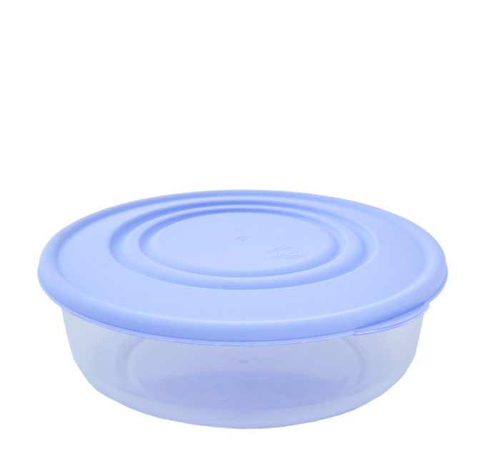 Контейнер для пищевых продуктов Алеана круглый 1.7л, прозрачный/сиреневый (167035) - фото № 1
