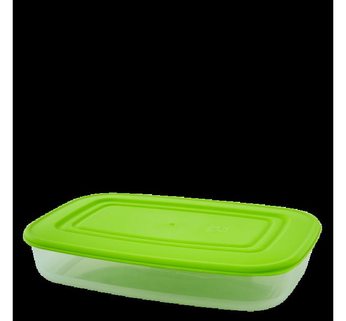 Контейнер для пищевых продуктов Алеана прямоугольный 0.95л, прозрачный/оливковый (167023) - фото № 1