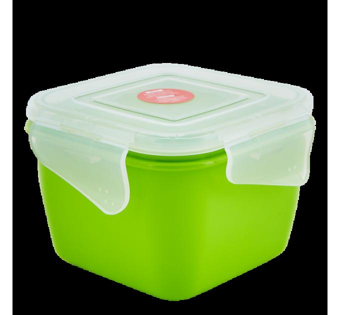 Контейнер универсальный Алеана Фиеста квадратный 1.5л, оливковый/прозрачный (168053) - фото № 1