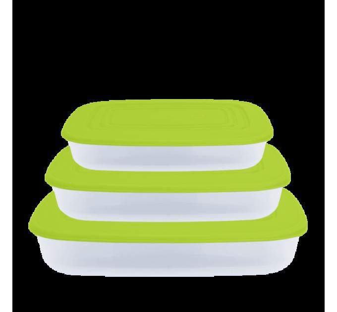 Контейнеры для пищевых продуктов Алеана, прямоугольные 3в1, прозрачный/оливковый (167020) - фото № 1
