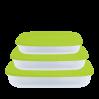 Контейнеры для пищевых продуктов Алеана, прямоугольные 3в1, прозрачный/оливковый (167020)