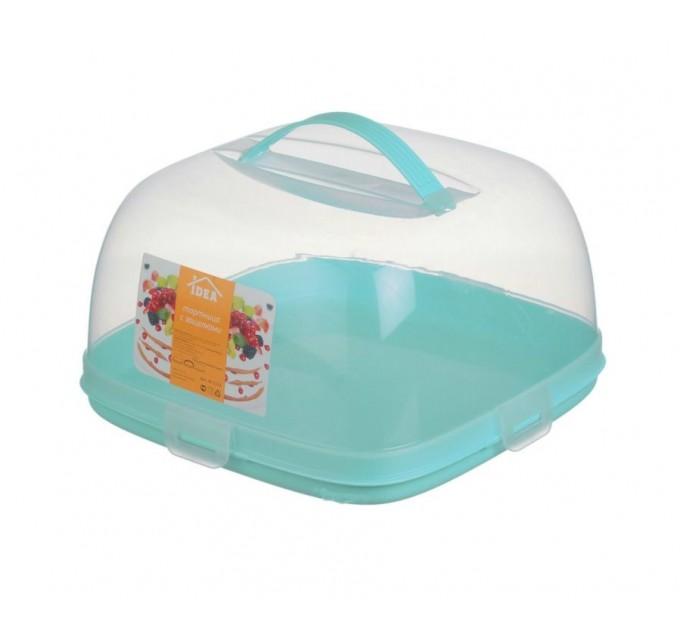 Тортовница с задвижками IDEA, аквамариновый (М1121А) - фото № 1