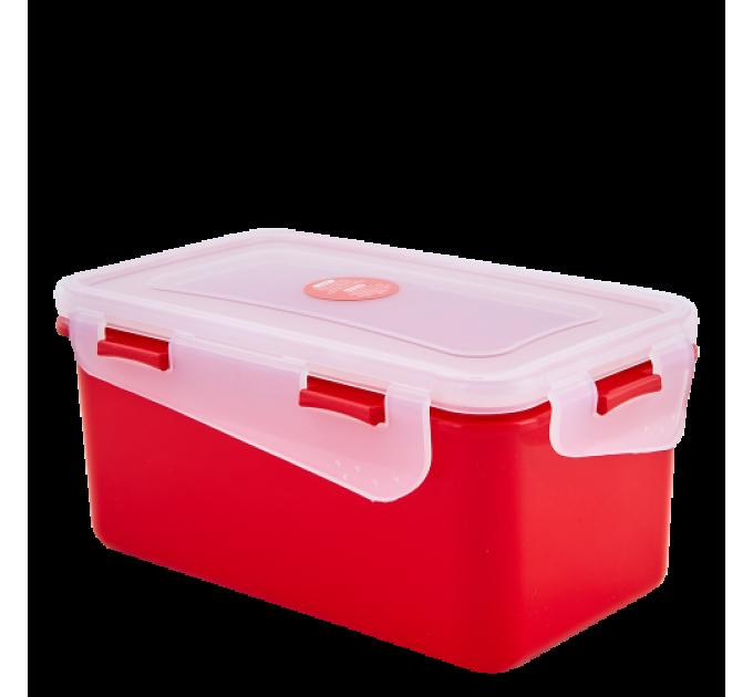 Контейнер универсальный Алеана Фиеста прямоугольный 4л красный бархат/прозрачный (168044) - фото № 1