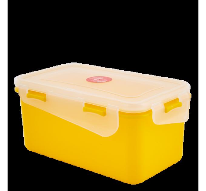 Контейнер универсальный Алеана Фиеста прямоугольный 4л, темно-желтый/прозрачный (168044) - фото № 1