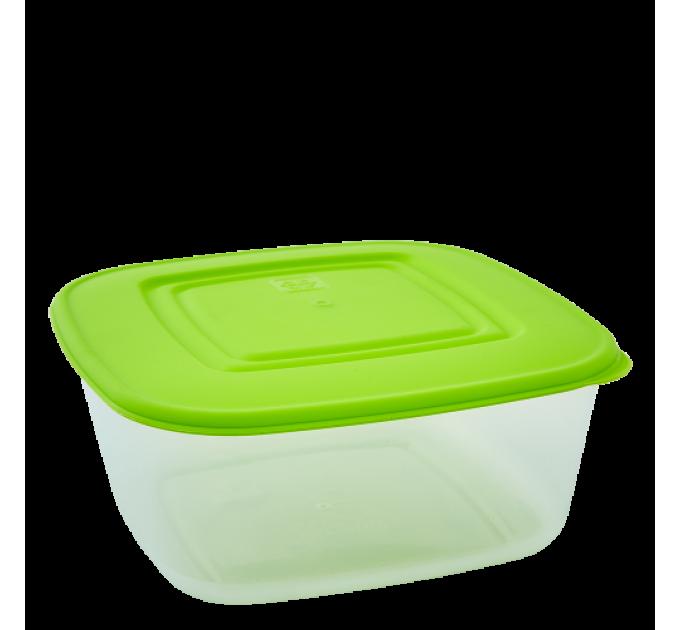 Контейнер для пищевых продуктов Алеана квадратный 0.93л, прозрачный/оливковый (167015) - фото № 1