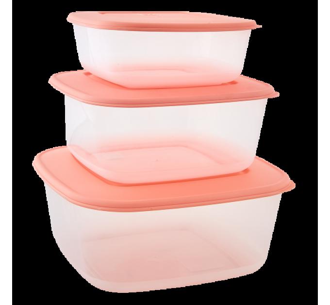 Контейнеры для пищевых продуктов Алеана квадратные 3в1, прозрачный/абрикосовый (167010) - фото № 1