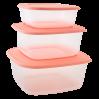 Контейнеры для пищевых продуктов Алеана квадратные 3в1, прозрачный/абрикосовый (167010)