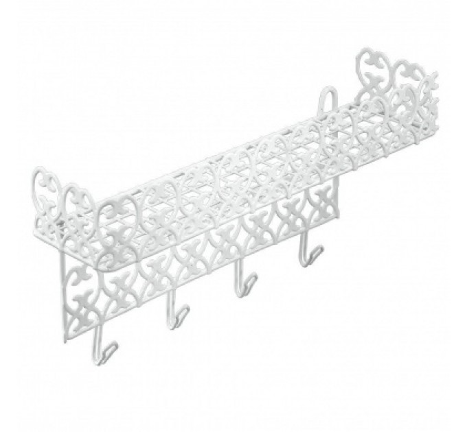 Полка с крючками 40*10*19см FLORENZ METALTEX, белый (421901) - фото № 1