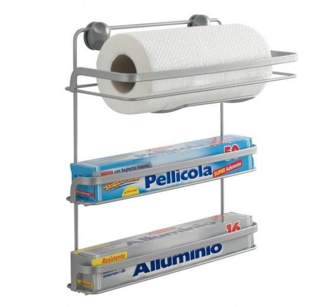 Полка подвесная 3-х секционная с держателем для бумажного полотенца 33*15*34см EUREKA Metaltex (350424) - фото № 1
