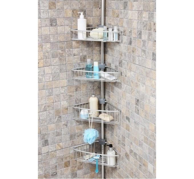 Полка в ванную угловая 3 яруса Prima Nova, алюминиевая (N29-30-E)
