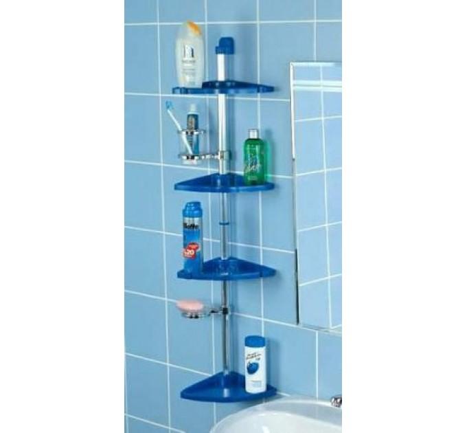 Полка в ванную угловая 4 яруса Prima Nova, стальная трубка, голубой (N03-02)