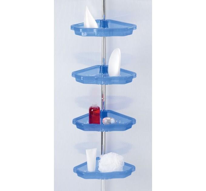 Полка в ванную угловая 3 яруса Prima Nova, алюминиевая трубка, прозрачная (N17-16)