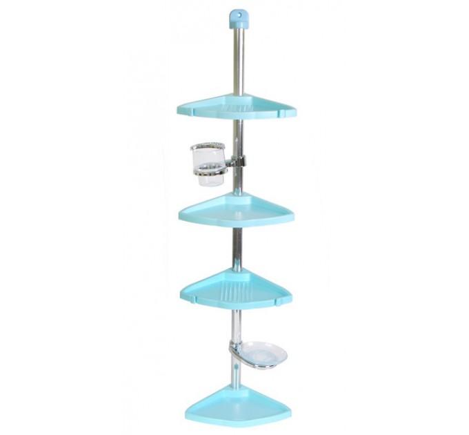 Полка в ванную угловая 4 яруса Prima Nova LINEA, стальная трубка, голубой (N13-02)