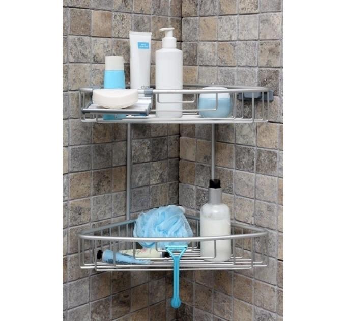 Полка в ванную угловая 2 яруса Prima Nova PALOMA, алюминиевая (N31-30) - фото № 1