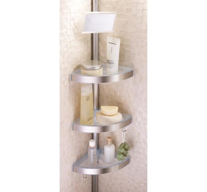 Полка в ванную угловая 3 яруса Prima Nova, алюминиевая трубка, прозрачная (N06-16)
