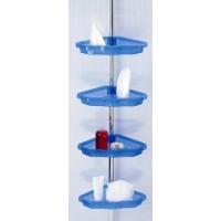 Полка в ванную угловая 3 яруса Prima Nova, алюминиевая трубка, синяя (N17-23)