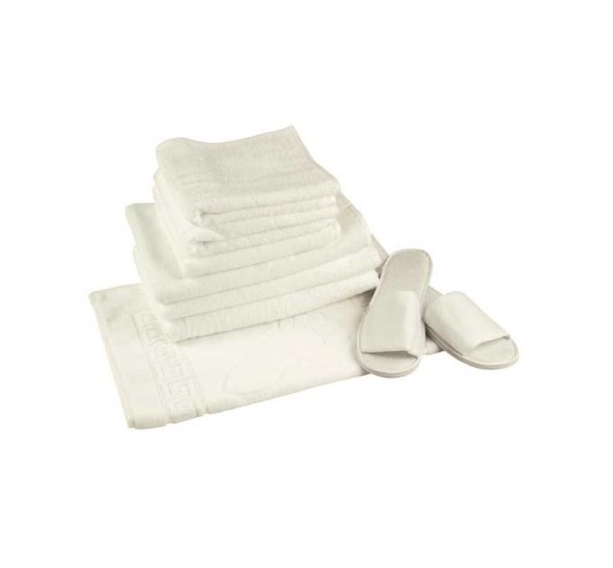 Махровое полотенце РУНО 70х140 плот. 420, нить 16/1, белый - фото № 1
