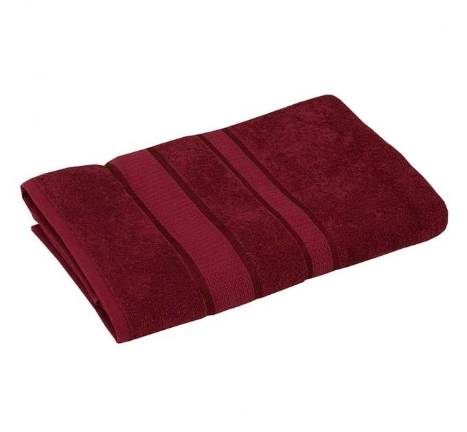 Полотенце махровое РУНО 70x140, бордовый - фото № 1