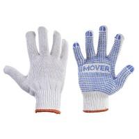 Рабочие трикотажные перчатки Mover с ПВХ точками 12 пар/уп, белый (NLX-PD001)
