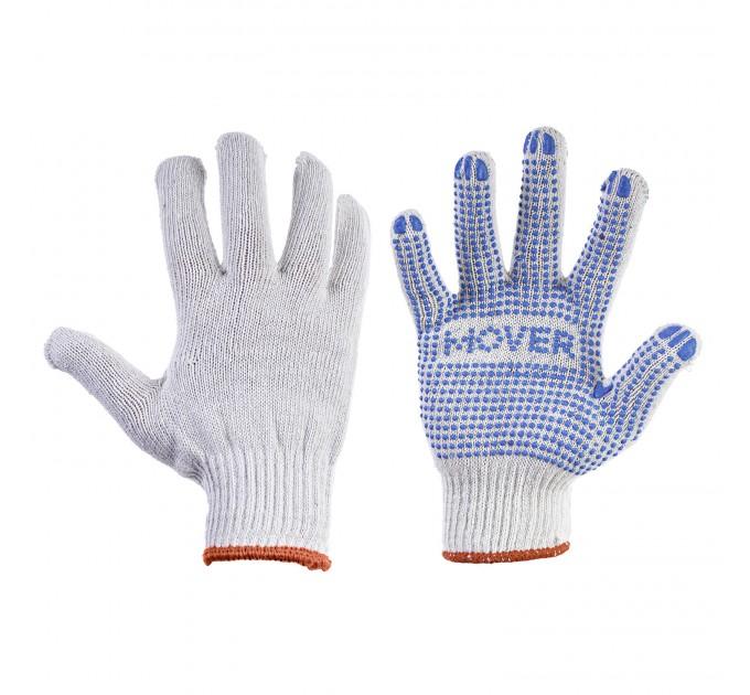 Рабочие трикотажные перчатки Mover с ПВХ точками 12 пар/уп, белый (NLX-PD001) - фото № 1
