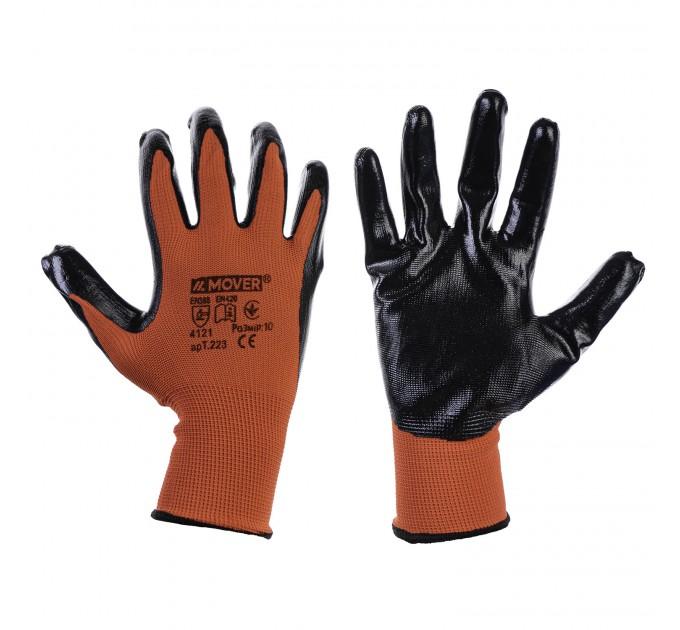 Рабочие трикотажные перчатки Mover с нитриловым покрытием 6 пар/уп, черно-красный (NLX-N011) - фото № 1