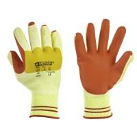 Рабочие трикотажные перчатки Mover с латексным покрытием 12 пар/уп, желто-красный (NLX-CR009)
