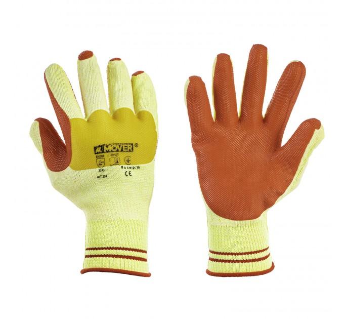Рабочие трикотажные перчатки Mover с латексным покрытием 6 пар/уп, желто-красный (NLX-CR009) - фото № 1