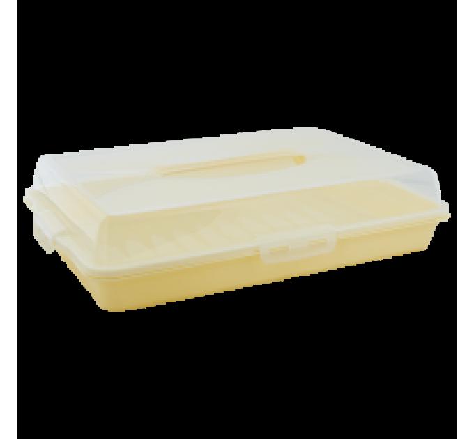Тортовница Алеана прямоугольная, желтый/прозрачная (169057) - фото № 1