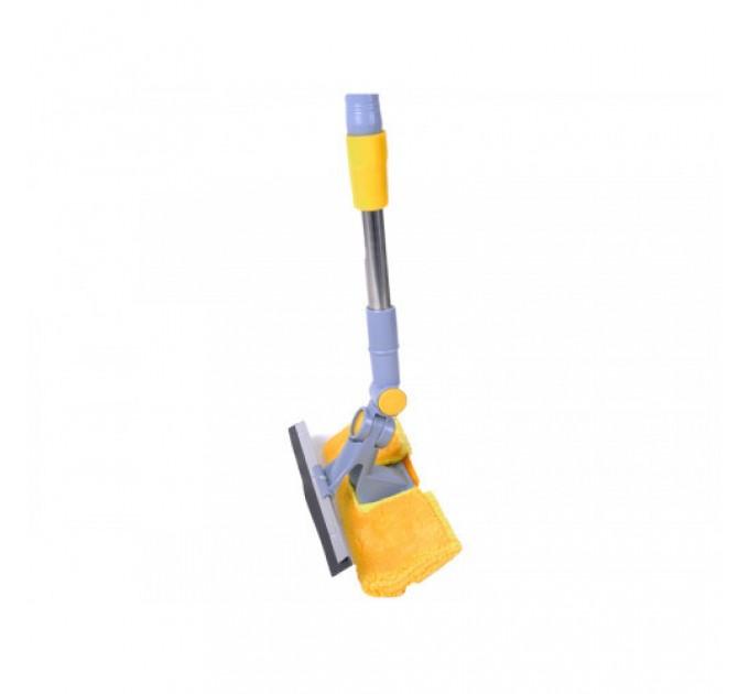 Швабра для мытья окон Eco Fabric поворотная губка 25см, хромированная телескоп. ручка 86-122см (EF-2518)