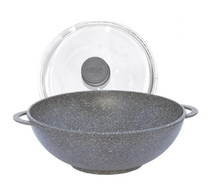 Сковорода WOK БИОЛ Granite Gray 28см с 2-мя ручками и крышкой (28034PC) - фото № 1