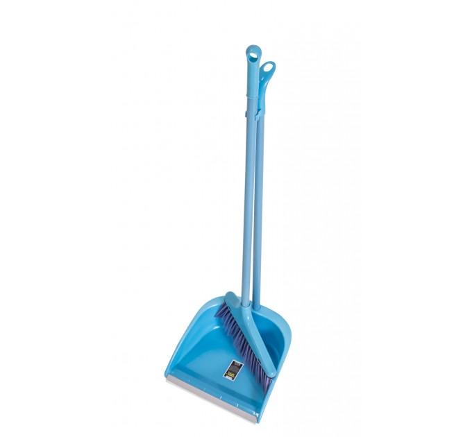 Набор совок и веник с длинной ручкой Eco Fabric, голубой (EF-0075-B) - фото № 1