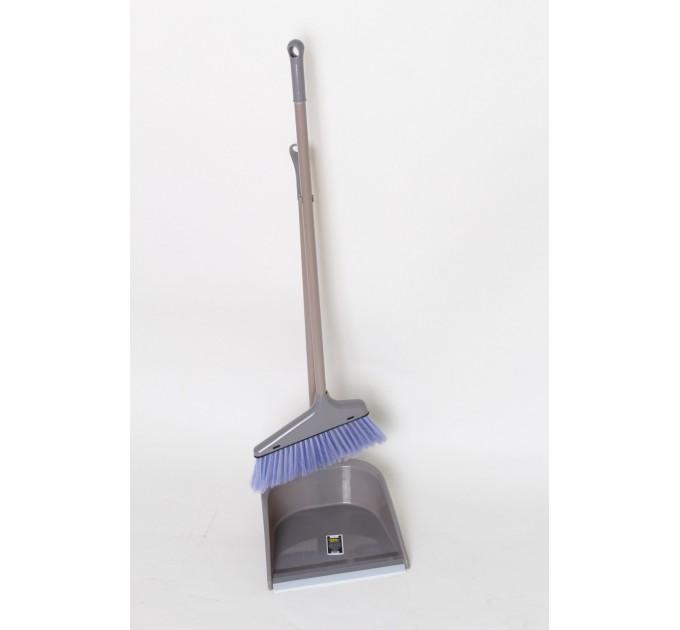 Набор совок и веник с длинной ручкой Eco Fabric, серый (EF-0075-R) - фото № 1