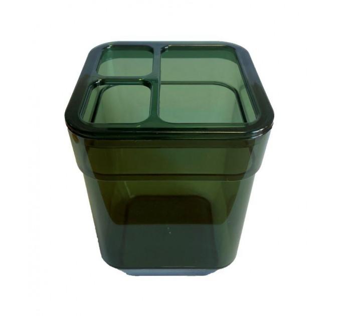 Стакан для зубных щеток Eco Fabric CUBE, прозрачно-зеленый (TRL-8025-TG)