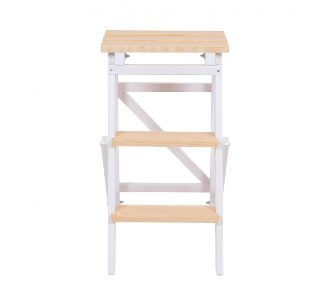 Стремянка бытовая деревянная LOFT 3 ступени, белый (LOFT-301) - фото № 1