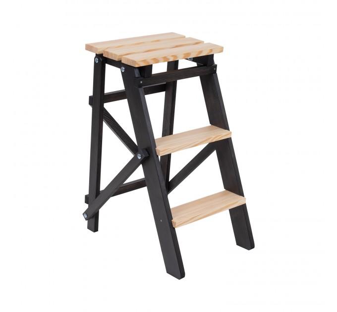 Стремянка бытовая деревянная LOFT 3 ступени, венге (LOFT-303) - фото № 1