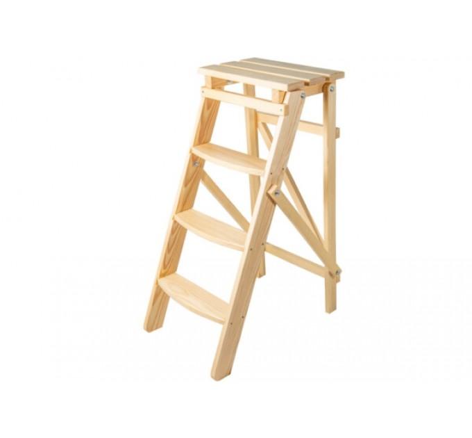 Стремянка бытовая деревянная LOFT 4 ступени, натуральный деревянный (WSL00101) - фото № 2