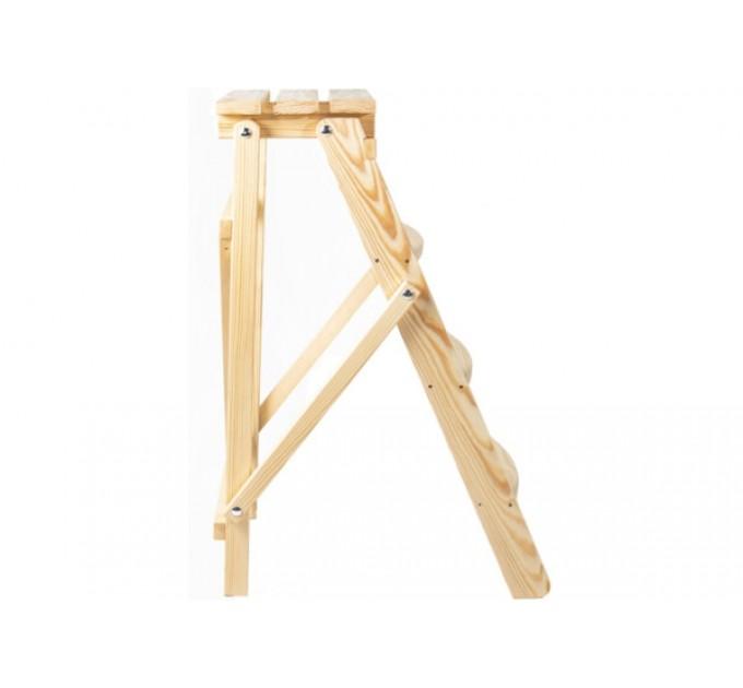 Стремянка бытовая деревянная LOFT 4 ступени, натуральный деревянный (WSL00101) - фото № 3