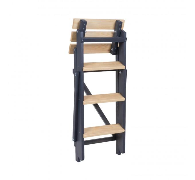 Стремянка бытовая деревянная LOFT 4 ступени, графит (LOFT-402) - фото № 3