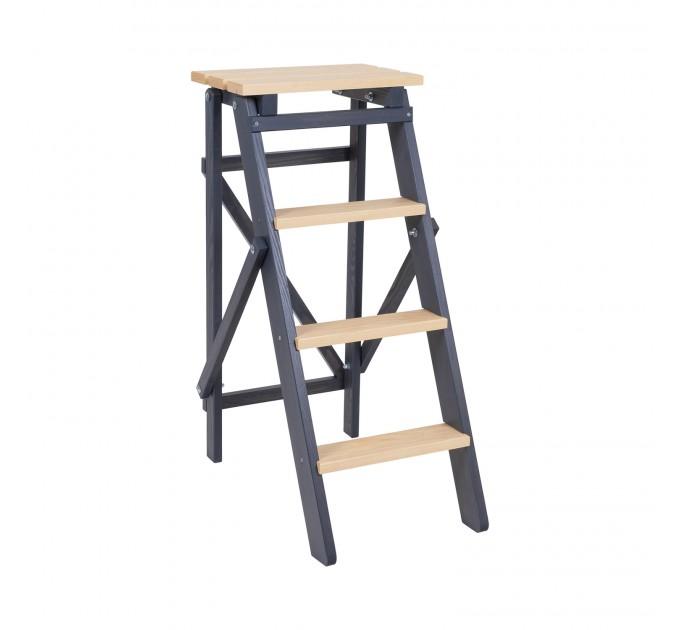 Стремянка бытовая деревянная LOFT 4 ступени, графит (LOFT-402) - фото № 1