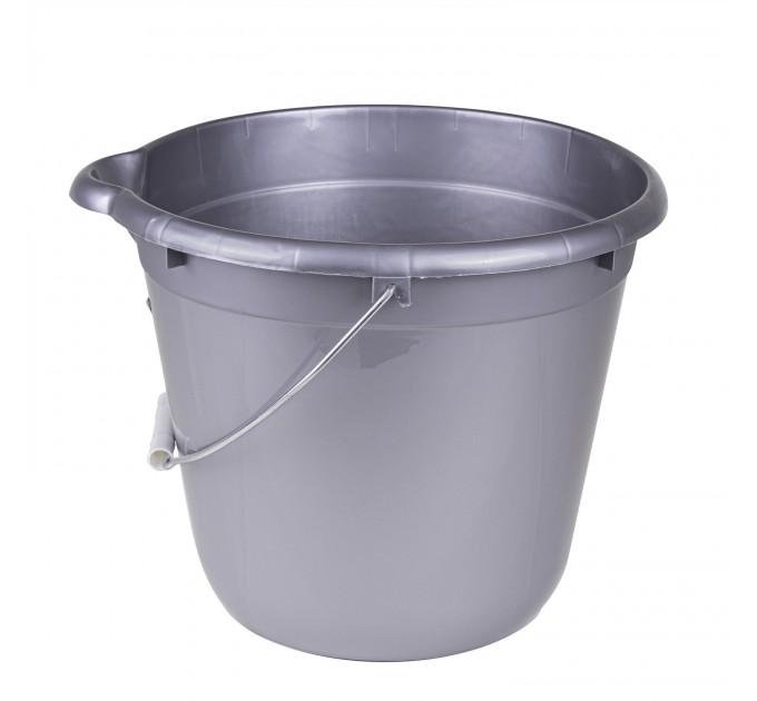 Ведро для уборки круглое 12л Tuttomop 42122, серый (SERO12SS-silver) - фото № 1