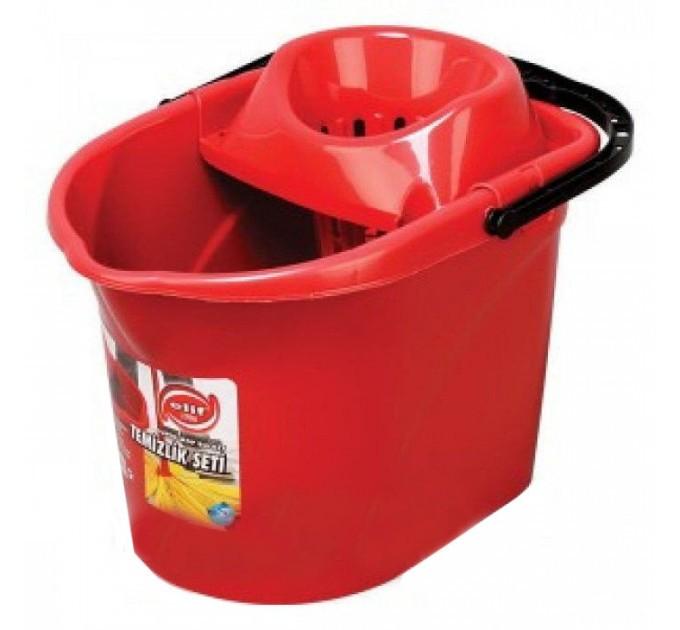 Ведро под швабру с отжимом Elif 13л, красный (380-3) - фото № 1