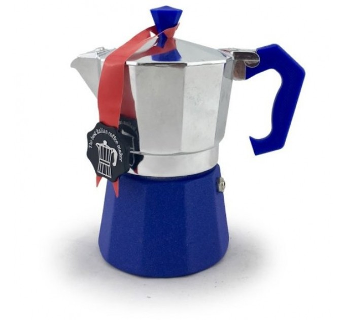 Гейзерная кофеварка на 3 чашки LEDYORO COLOR GAT, синий (103003) - фото № 1
